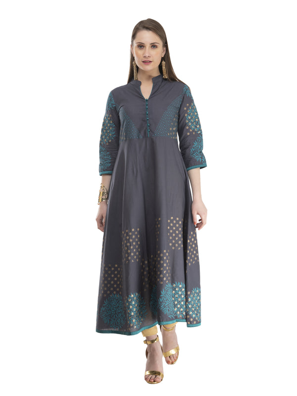 Grey Cotton Anarkali with Subtle Ajrakh Hand Block Print