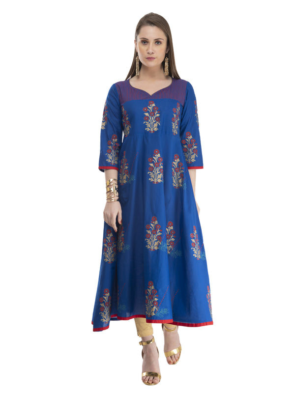 Festive Royal Blue Cotton Anarkali with Ajrakh Hand Block Print