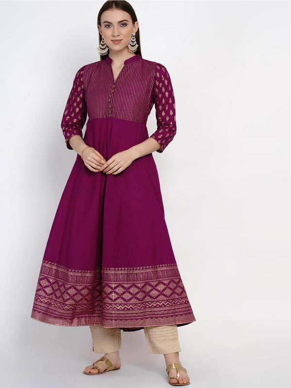 Mauve Cotton Anarkali with Ajrakh Hand Block Print- Inayat