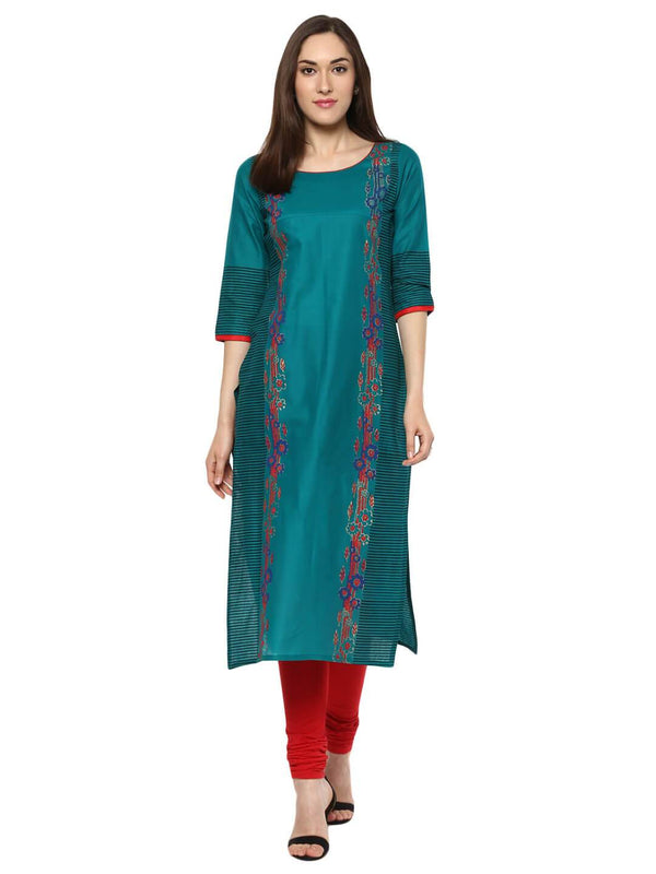 Peacock Blue Geometric Ajrakh Hand Block Cotton Printed Straight Kurta - Inayat