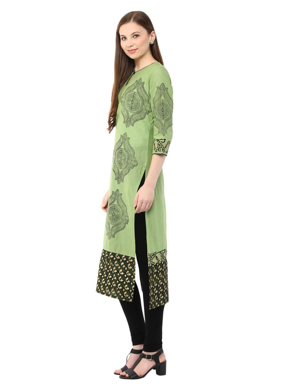 Pastel Green Ajrakh Hand Blocked Boat Neck Cotton Kurta - Inayat