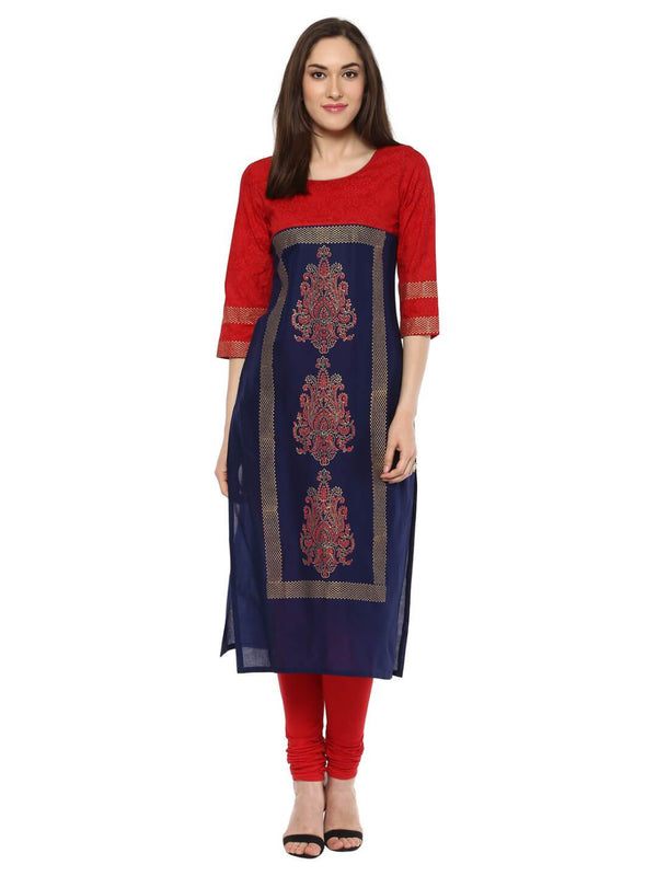 Red and Blue Tribal Hand Block Cotton Printed Kurta