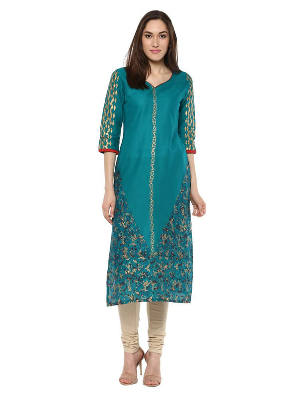 Firozi Blue Geometric Block Printed Cotton Kurta