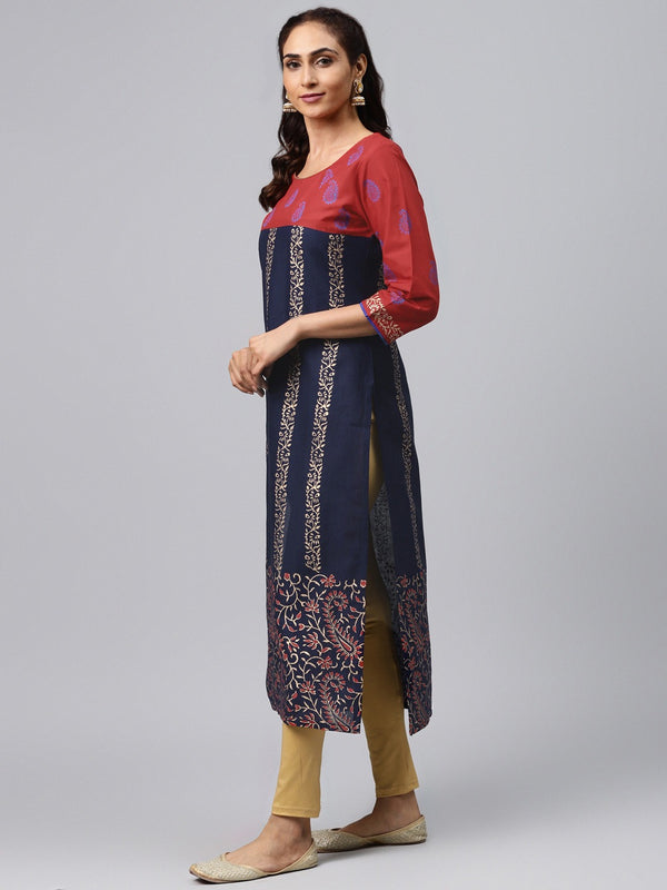 red and blue floral ajrakh hand block cotton printed straight kurta