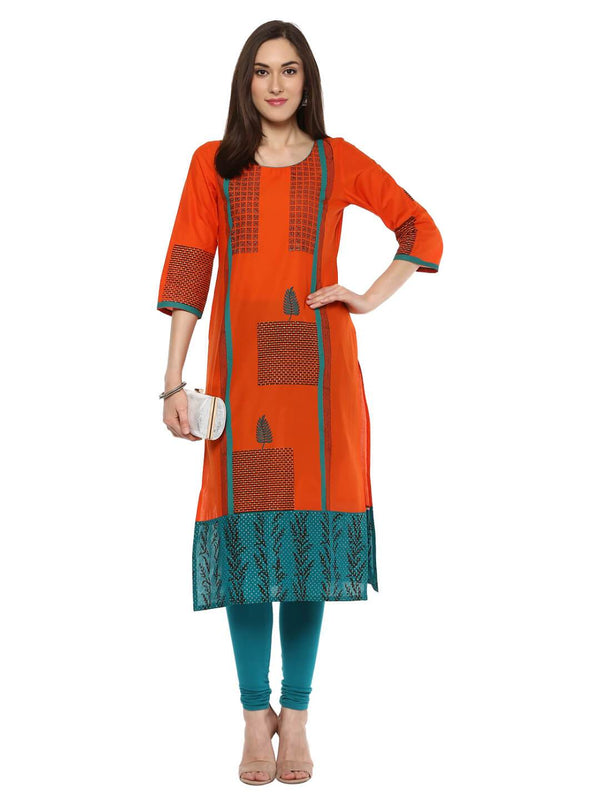 Orange and Turquoise Hand Block Cotton Printed Straight Kurta
