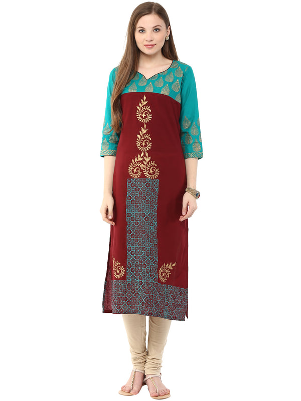 Turquoise and maroon Hand Block Cotton Printed Straight Kurta