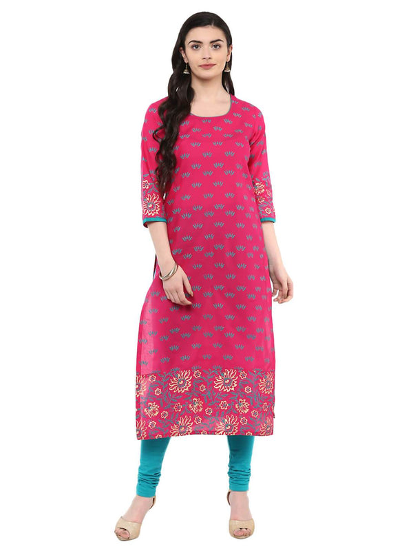 Pink And Turquoise Floral Ajrakh Hand Block Cotton Printed Kurta