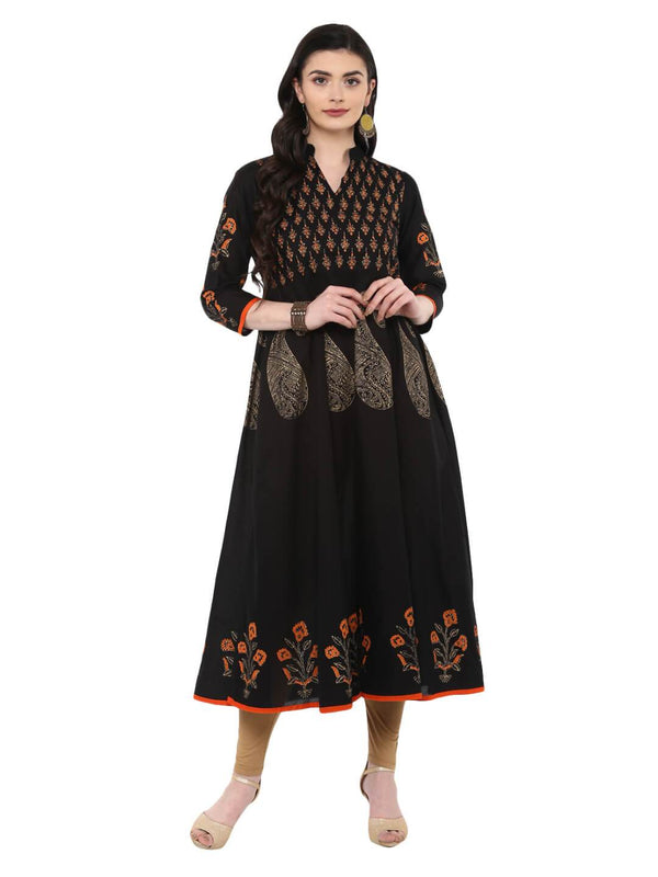 Classic Black Ajrakh Hand Block Cotton Printed Anarkali