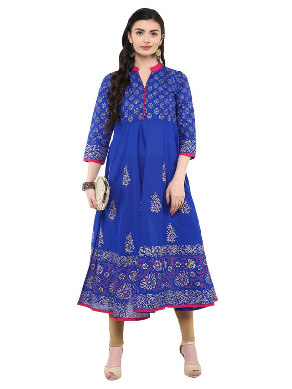 Royal Blue Festive Cotton Printed Anarkali