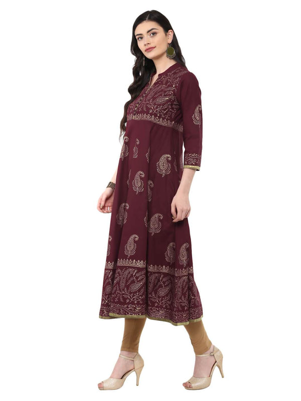 Violet and Golden Ajrakh Hand Block Cotton Printed Anarkali