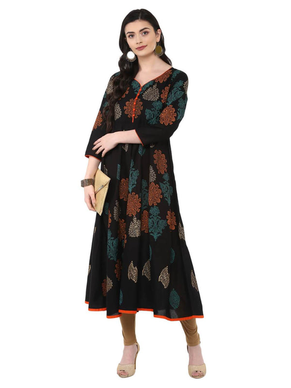 Black Cotton Printed Multi-Colored Anarkali