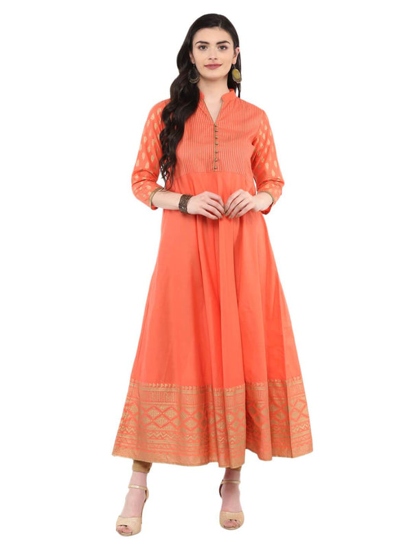 Coral Pink Hand Block Printed Cotton Anarkali
