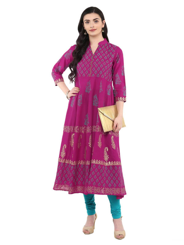 Magenta Ajrakh Hand Block Printed Cotton Anarkali