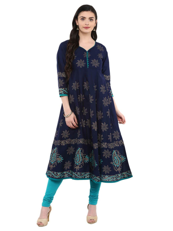 Navy Blue Ajrakh Hand Block Printed Cotton Anarkali