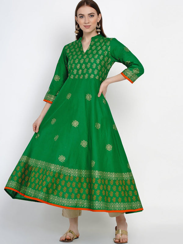 Green Cotton Anarkali with Hand Block Print