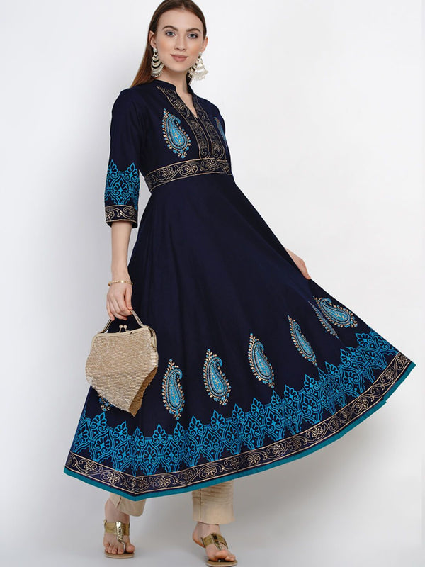 Coral Blue Cotton printed Anarkali