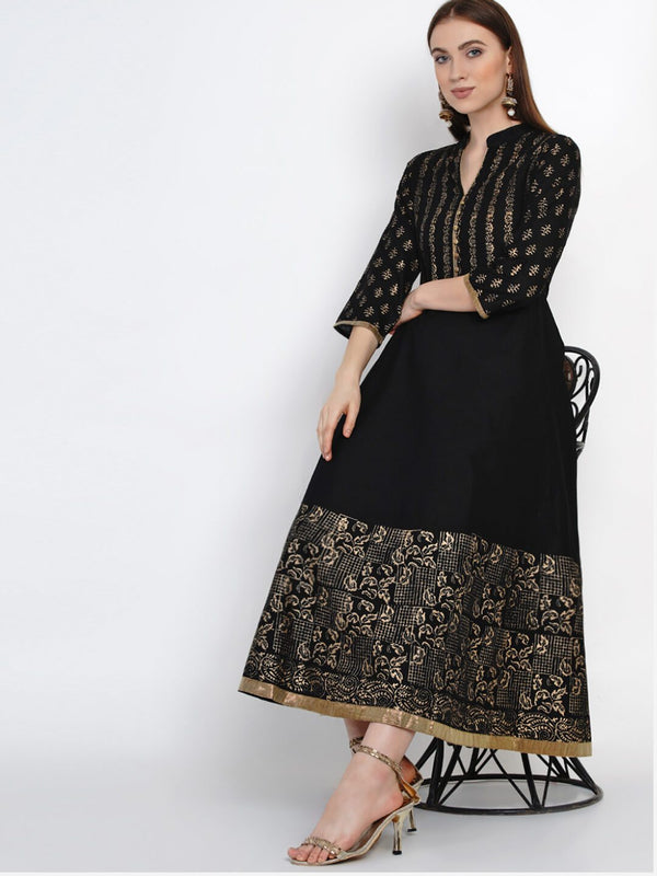 Festive Black Cotton Anarkali with Ajrakh Hand Block Print