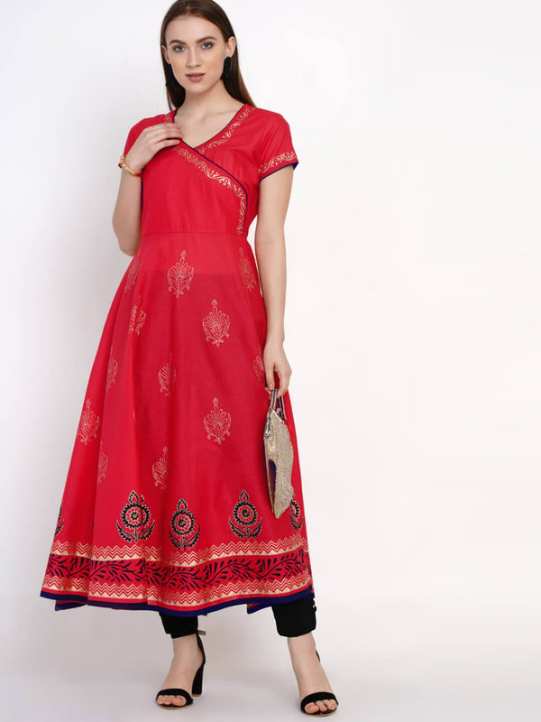 Coral Red Overlap Block Printed Cotton Anarkali