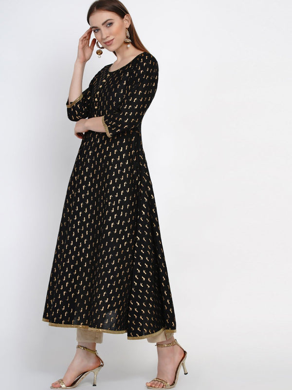 Black and golden cotton block printed anarkali