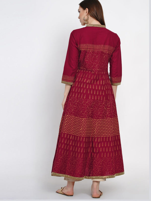 Maroon Hand Block Cotton Printed Anarkali
