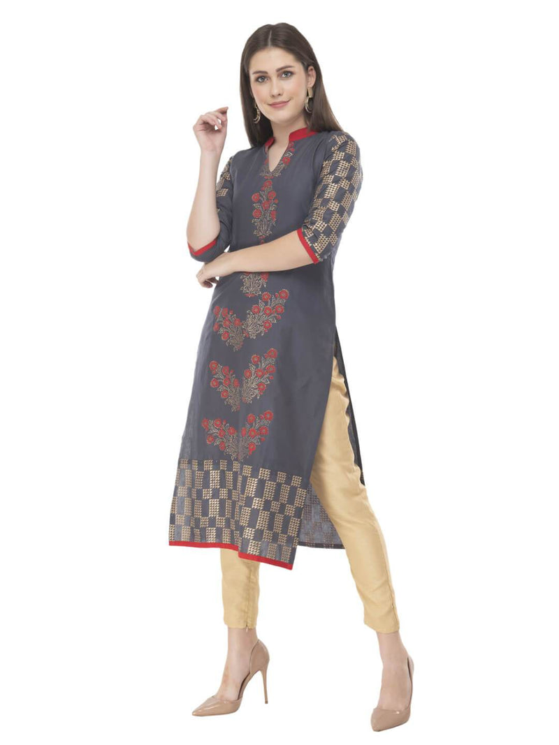 Grey Ajrakh Hand Block Floral Printed Cotton Straight Kurta