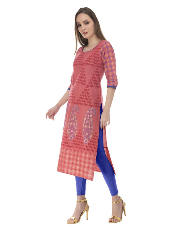 Clay Color Hand Block Cotton Printed Straight Kurta