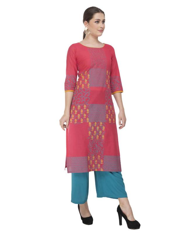 Pink and Turquoise Festive Hand Block Cotton Printed Kurta