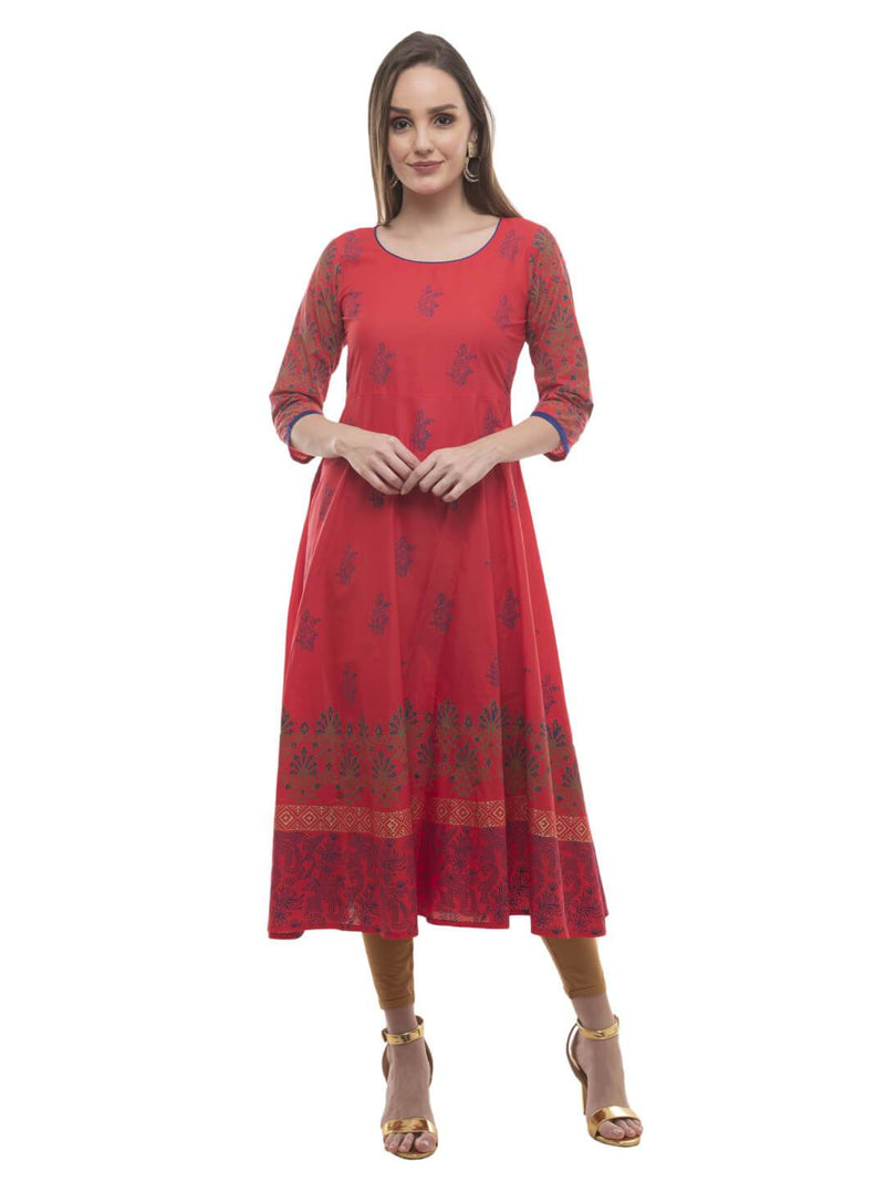 Red Festive Hand Block Cotton Printed Anarkali