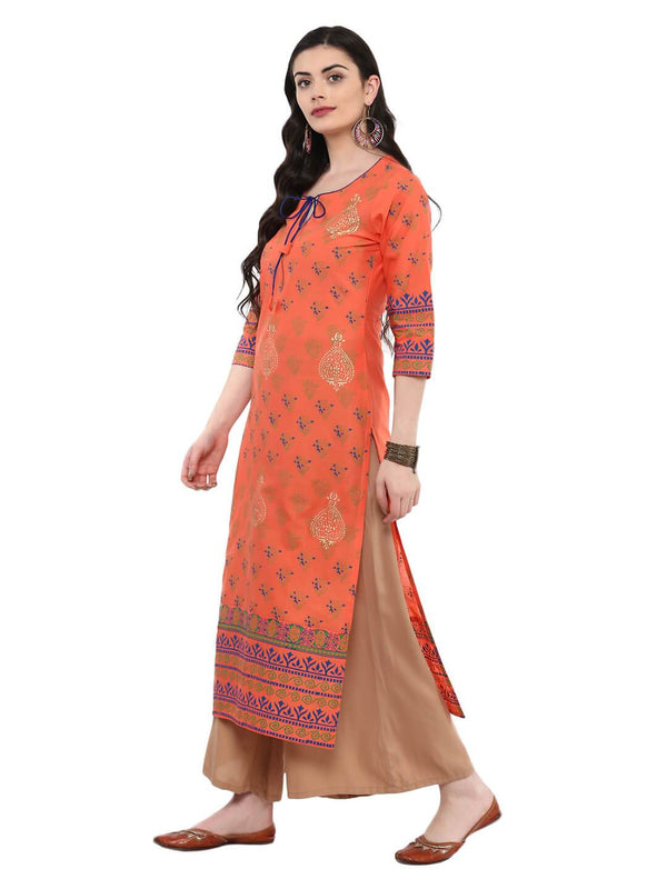 Coral Pink Hand Block Cotton Printed Kurta by the Pink Label