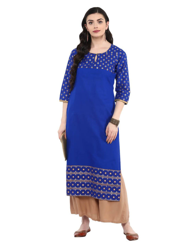 Royal Blue Cotton Printed Kurta with Keyhole Detail