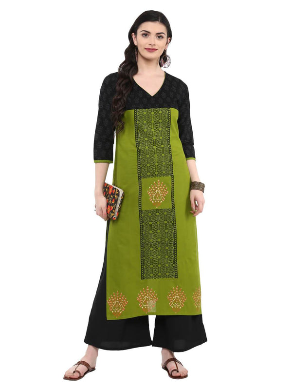 Parrot Green and Black Cotton Printed Kurta