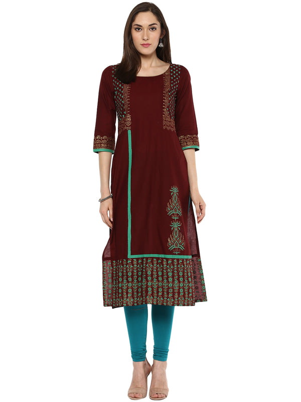 Maroon and mint green ajrakh hand block cotton printed Anarkali