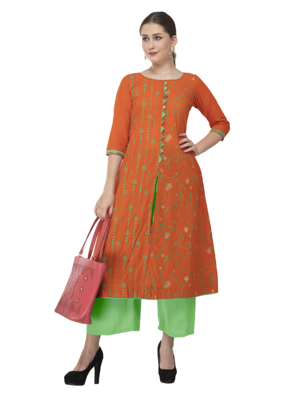 Orange Front open Ajrakh Hand Block Printed Cotton Straight Kurta