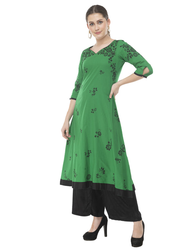 Green & black minimal cotton Anarkali with ajrakh hand block print
