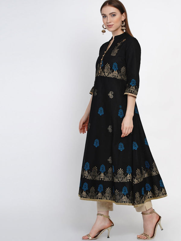 Minimal Black Cotton Anarkali with Ajrakh Hand Block Print