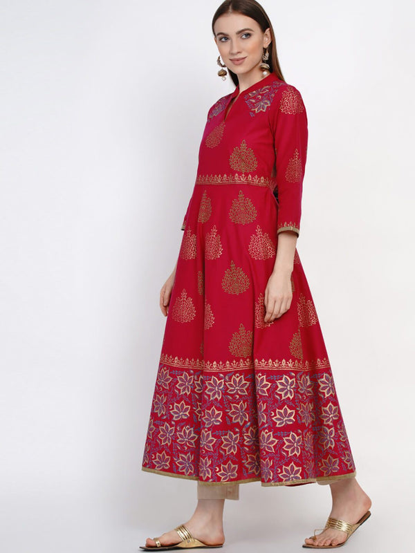 Red Ajrakh Hand Block Cotton Printed Anarkali