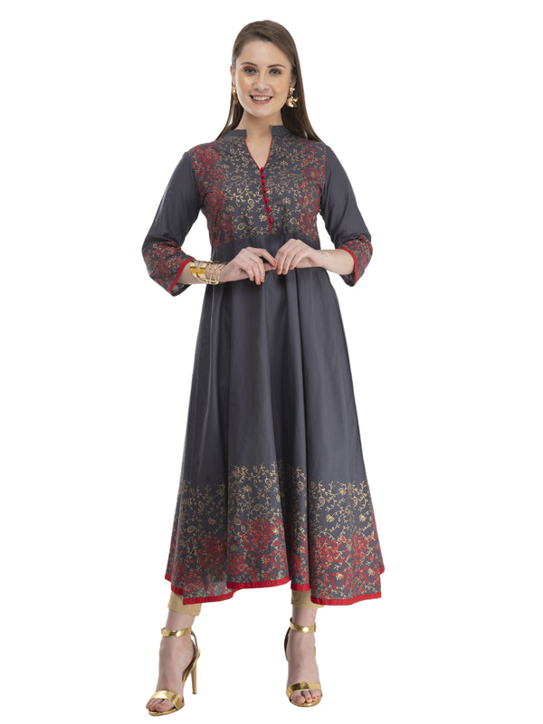 Grey and red cotton Anarkali with ajrakh hand block print