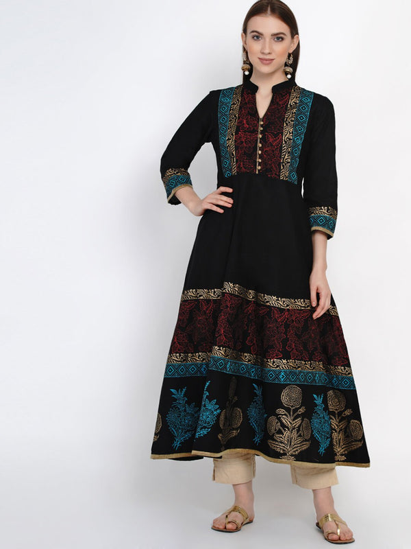 Traditional Black Cotton Anarkali