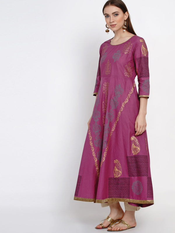 Mauve Cotton Anarkali with Ajrakh Handblock Print