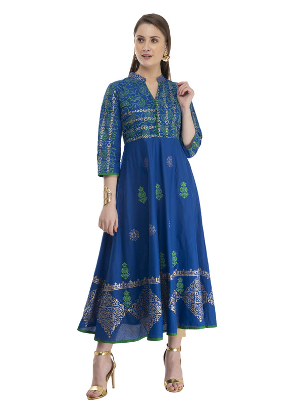 Royal Blue Cotton Anarkali with Ajrakh Hand Block Print