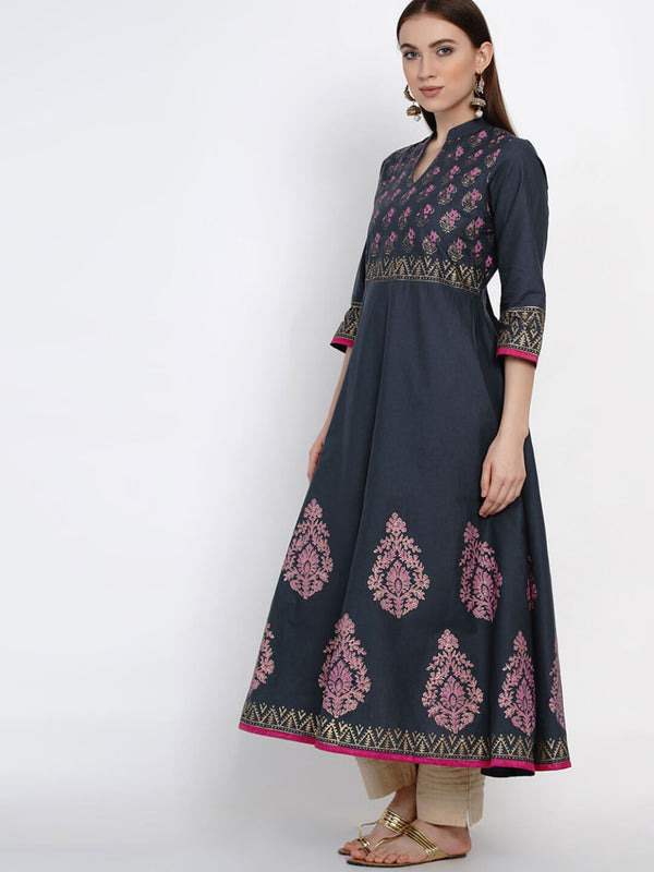 Grey Cotton Anarkali with Ajrakh Hand Block Print