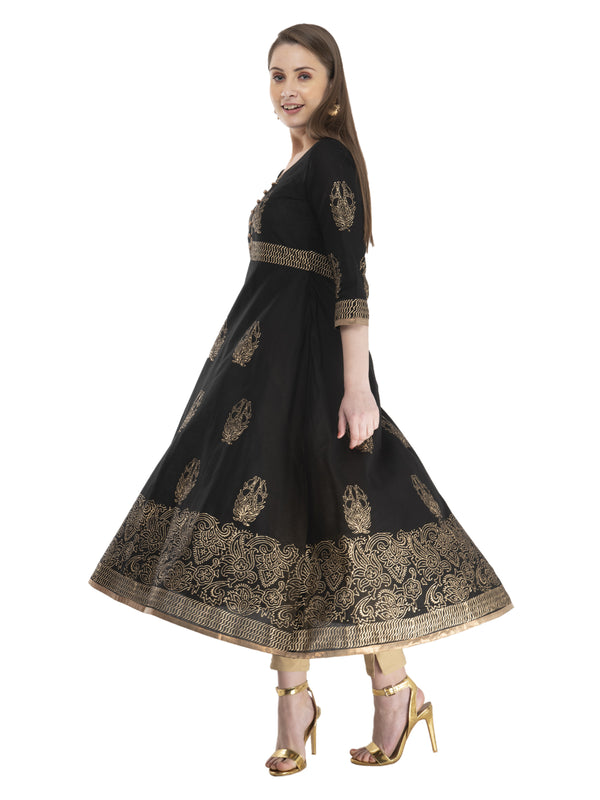 Traditional black cotton Anarkali with ajrakh hand block golden foil print