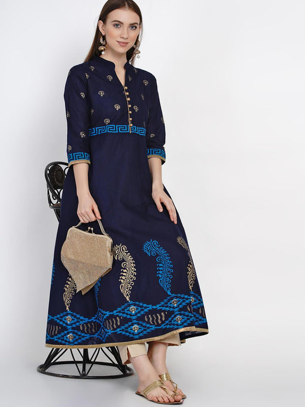 Coral Blue Cotton Anarkali with Ajrakh Hand Block Print