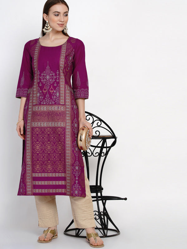 Panel Illusion mauve cotton kurta with ajrakh hand block print