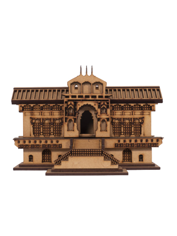 Roll over image to zoom in  Uttarakhand Box Wood 3D Badrinath Temple (Brown)