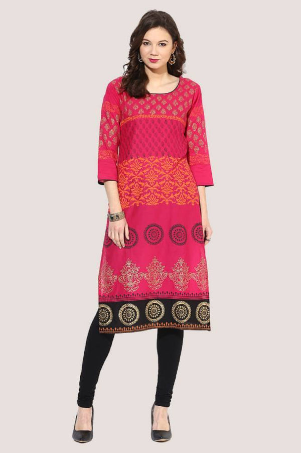 Pink Festive Ajrakh Hand Block Cotton Printed Straight Kurta - The Pink Label