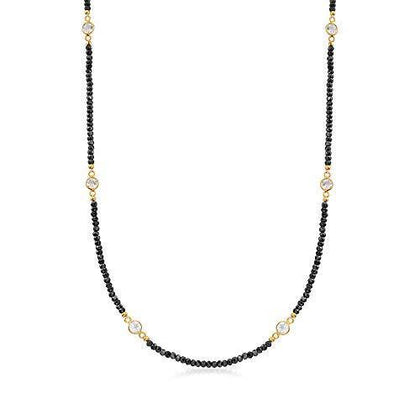 25.00 ct. t.w. Black Spinel and 3.90 ct. t.w. White Topaz Station Necklace in 18kt Gold Over Sterling - Skyjewelry