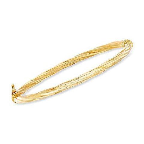 Italian 18kt Yellow Gold Twisted Bangle Bracelet - Skyjewelry