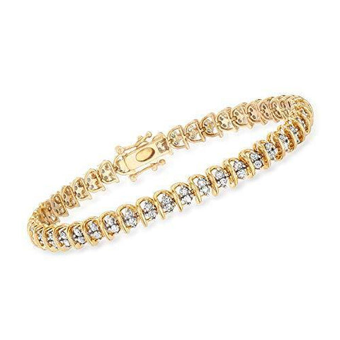 2.00 ct. t.w. Diamond Swirl-Link Tennis Bracelet in 18kt Gold - Skyjewelry