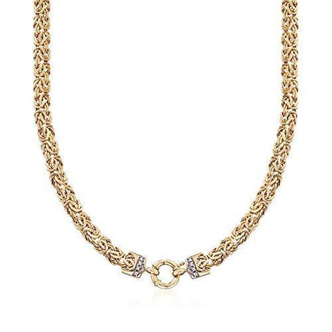 14kt Yellow Gold Byzantine Necklace With Diamond Accents - Skyjewelry